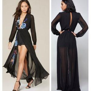 Bebe Print Slit Shorts Gown